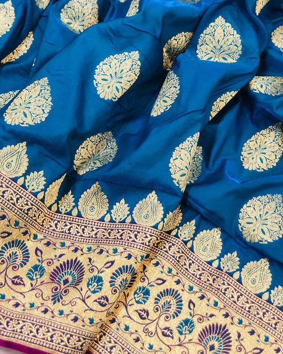 BLUE BANARASI HANDLOOM SATIN SILK SAREE CONTRAST PINK BORDER & BLOUSE