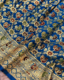 BLUE BANARASI HANDLOOM SATIN SILK SAREE
