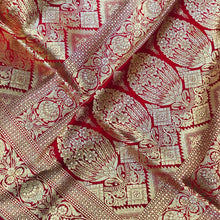 Load image into Gallery viewer, RED BANARASI HANDLOOM SATIN SILK SAREE (ALL OVER JAAL WORK)