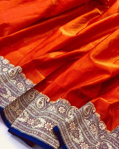 ORANGE BANARASI HANDLOOM SOFT SILK SAREE