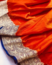 Load image into Gallery viewer, ORANGE BANARASI HANDLOOM SOFT SILK SAREE