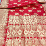 STRAWBERRY RED BANARASI HANDLOOM SATIN SILK SAREE ALLOVER BUTA BUTI WORK