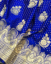 Load image into Gallery viewer, ROYAL BLUE BANARASI HANDLOOM SATIN SILK SAREE ALLOVER BUTA BUTI WORK