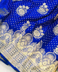ROYAL BLUE BANARASI HANDLOOM SATIN SILK SAREE ALLOVER BUTA BUTI WORK