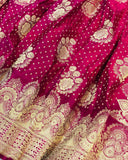 HOT PINK BANARASI HANDLOOM SATIN SILK SAREE ALLOVER BUTA BUTI WORK
