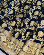 Load image into Gallery viewer, NAVY BLUE BANARASI HANDLOOM SATIN SILK SAREE (ALL OVER JAAL WORK)