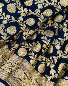 NAVY BLUE BANARASI HANDLOOM SATIN SILK SAREE (ALL OVER JAAL WORK)