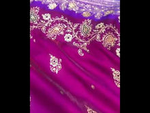 Load and play video in Gallery viewer, JAMUNI WITH CONTRAST BLUE BANARASI HANDLOOM SILK SAREE WITH HAND ZARDOZI