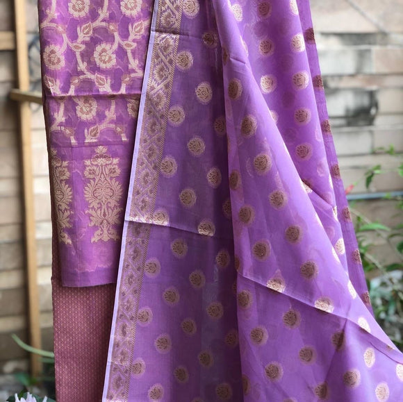 Light Purple Cotton Silk Minakari Buti Jangla Banarasi Handloom Three Piece Suit Set