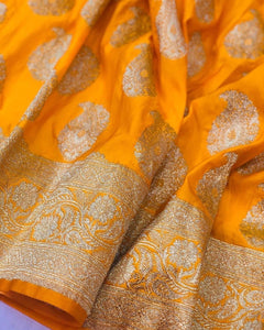 Yellow Satin Silk Carry Boota Banarasi Handloom Saree
