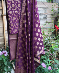 Deep Purple Cotton Silk Minakari Buti Jangla Banarasi Handloom Three Piece Suit Set