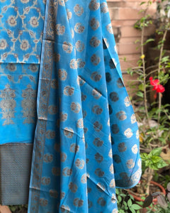 Sky Blue Cotton Silk Minakari Buti Jangla Banarasi Handloom Three Piece Suit Set