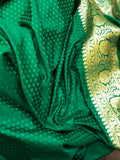 GREEN BANARASI HANDLOOM SATIN SILK SAREE
