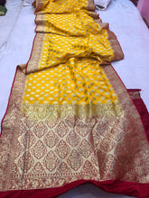 Load image into Gallery viewer, Yellow Red Satin Silk Buti Banarasi Handloom Saree