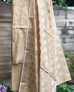 Off-White Cotton Silk Minakari Buti Jangla Banarasi Handloom Three Piece Suit Set