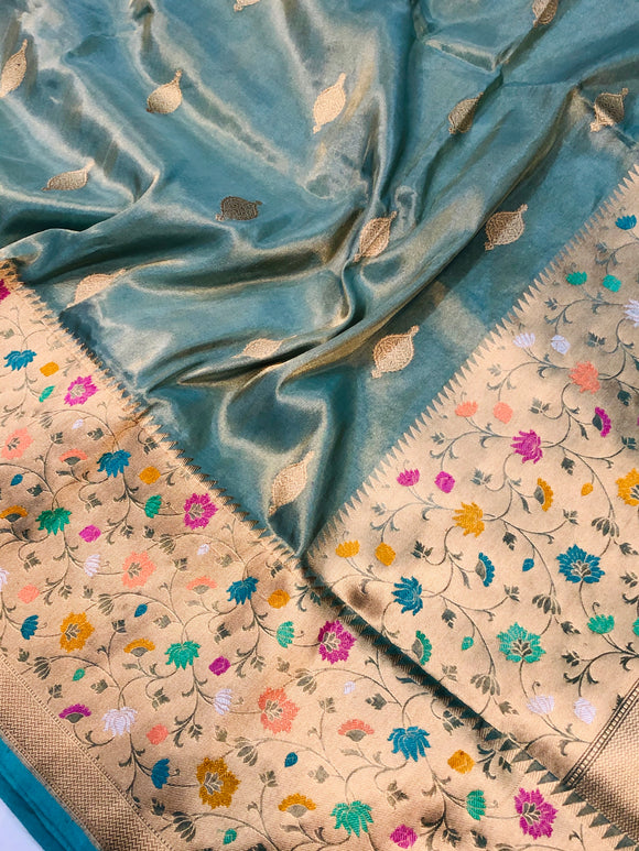 SEA GREEN BANARASI HANDLOOM TISSUE KATAN SILK SAREE