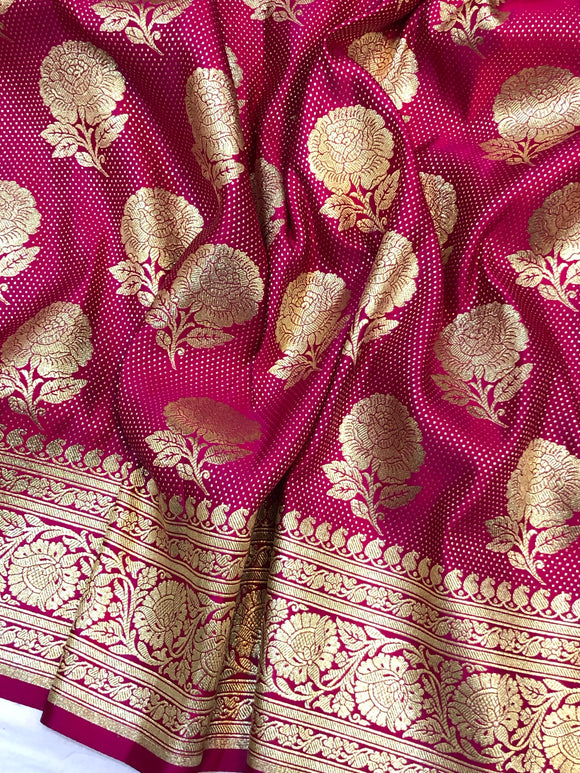 HOT PINK BANARASI HANDLOOM SATIN SILK SAREE