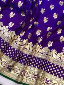 BLUISH PURPLE BANARASI HANDLOOM SATIN SILK SAREE WITH MAYUR BUTI