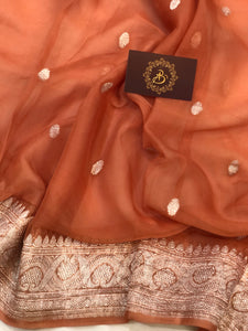 EARTHY ORANGE BANARASI HANDLOOM PURE KHADDI CHIFFON GEORGETTE SILK SAREE