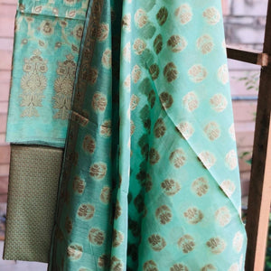 Seagreen Cotton Silk Minakari Buti Jangla Banarasi Handloom Three Piece Suit Set