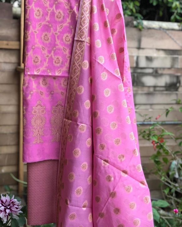 Light Pink Cotton Silk Minakari Buti Jangla Banarasi Handloom Three Piece Suit Set