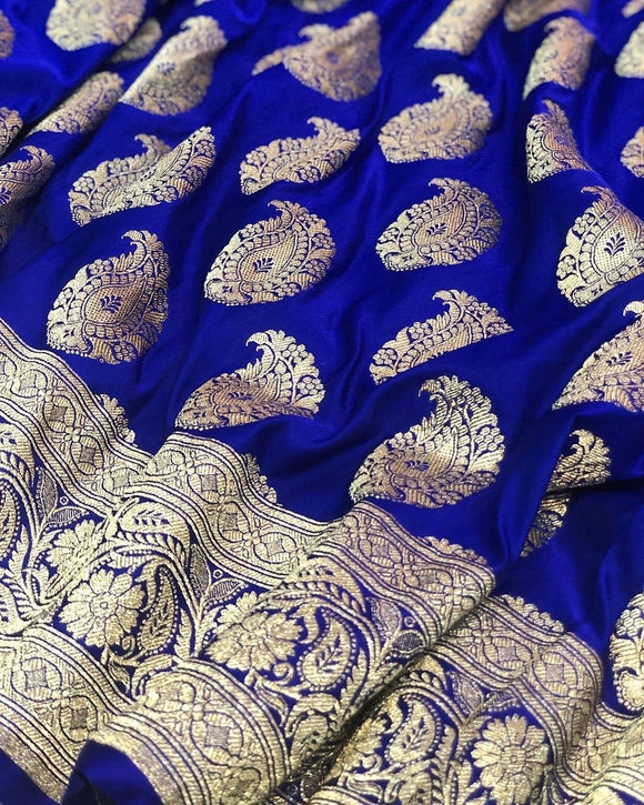 Royal Blue Satin Silk Carry Boota Banarasi Handloom Saree