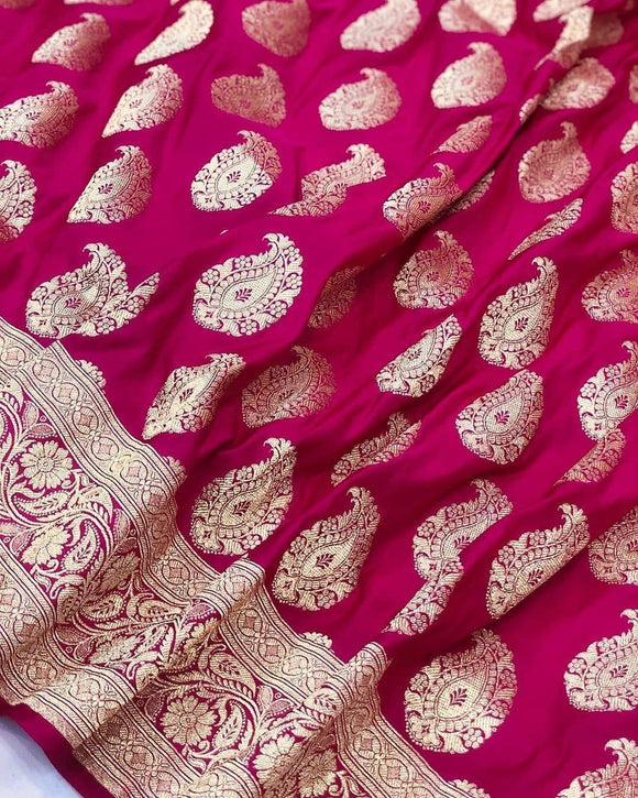 Hot Pink Satin Silk Carry Boota Banarasi Handloom Saree