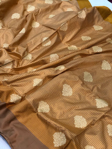 MUSTARD YELLOW BANARASI HANDLOOM PURE KATAN SILK SAREE