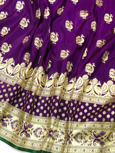PURPLE BANARASI HANDLOOM SATIN SILK SAREE WITH MAYUR BUTI