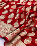 Red Satin Silk Carry Boota Banarasi Handloom Saree