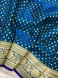 BLUE HAZAR BUTI BANARASI HANDLOOM SATIN SILK SAREE