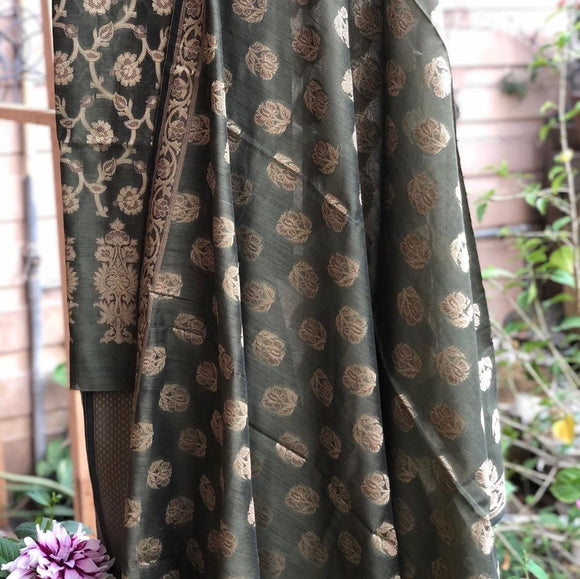 Greyish Green Cotton Silk Minakari Buti Jangla Banarasi Handloom Three Piece Suit Set