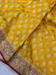 Yellow Red Satin Silk Buti Banarasi Handloom Saree