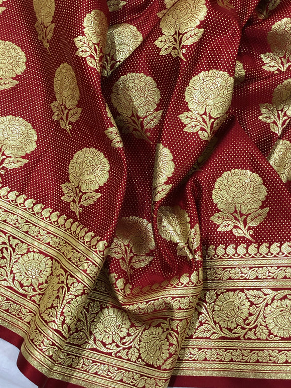 RED BANARASI HANDLOOM SATIN SILK SAREE