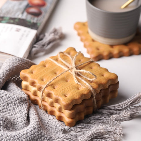 Wood Biscuit Shape Coaster Home Decoration - Orz LOL Orz