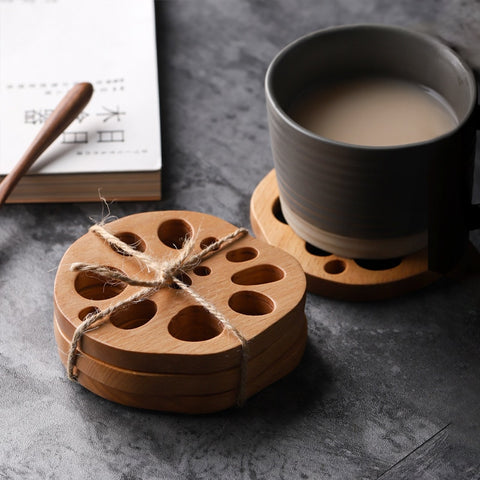 Nordic Wood Lotus Coasters Home Decoration - Orz LOL Orz