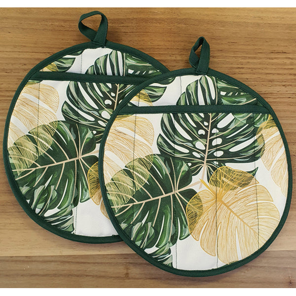 Oven Gloves Natural Cotton - Tropical Palm Leaf