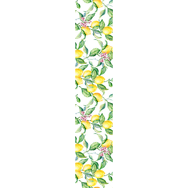 Natural Linen Runner - Lemons and Leaves
