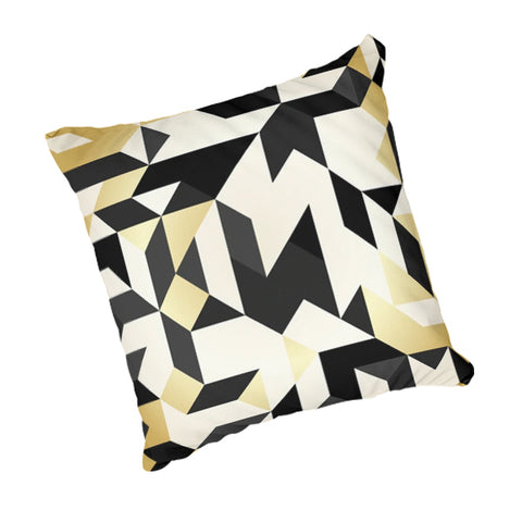 Natural Linen Scatter Cushion - Gold, Black, White Triangles