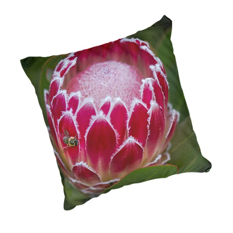 Natural Linen Scatter Cushion - Protea With Bee