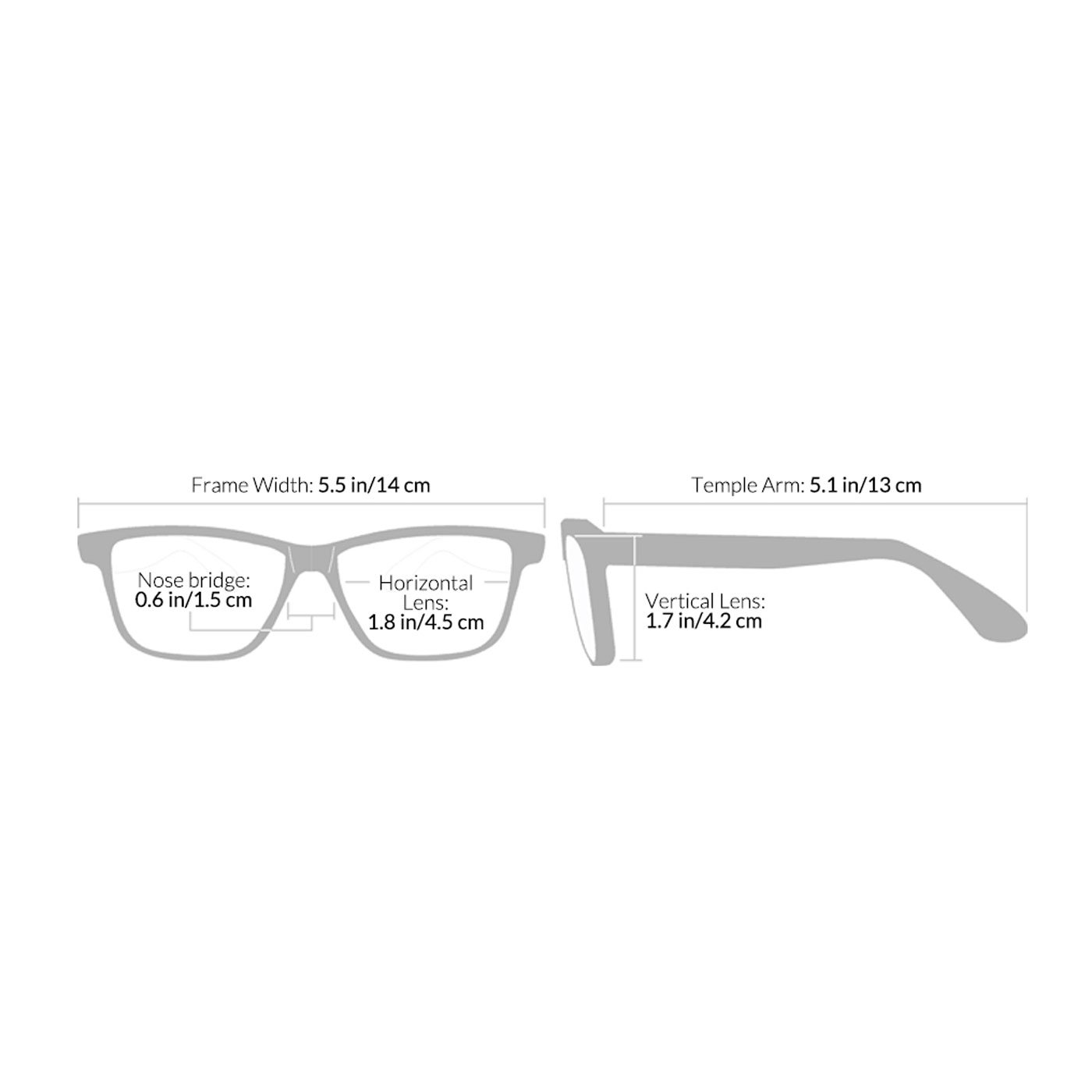 Seymour and Reading Glasses - Size Chart - Style West Point Grey