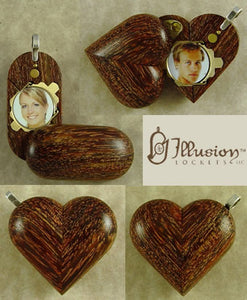 B129 Cremation Ash Camelthorn Wood Illusionist Locket With Secret Compartments