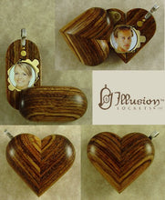 Load image into Gallery viewer, B132 Cremation Ash Wood Illusionist Locket With Secret Compartments