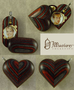 B135 Cremation Ash Wood Illusionist Locket With Secret Compartments