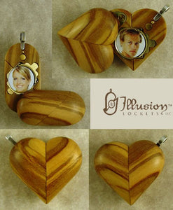 B163 Cremation Ash Olive Wood Illusionist Locket With Secret Compartments