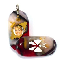 Load image into Gallery viewer, 1661 Thin Red Silver Marble Acrylic Butterfly Illusionist Locket
