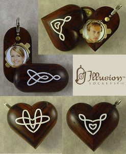B168 Wood Cremation Ash Celtic knot Locket With Secret Compartments