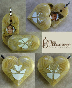 1811 Thin Champagne Acrylic Butterfly Illusionist Locket