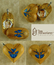 Load image into Gallery viewer, B191 Cremation Ash Butterfly Locket With Secret Compartments Olive Wood