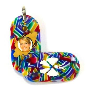 1960 Thin Confetti Acrylic Butterfly Illusionist Locket